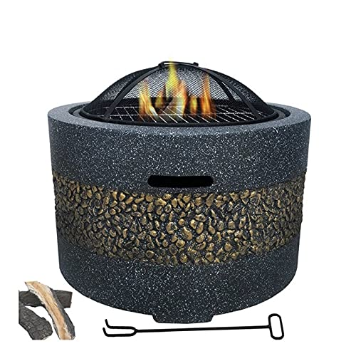 Brasero Partido al Aire Libre Patio Jardín Villa Chalet Charcoal Asado Estufa Barbacoa Parrilla Hogar BBQ Fire Pit Hermoso y Practico (Color : Black, Size : 55.5x55.5x46cm)