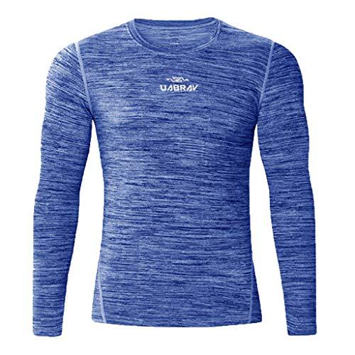 T-Shirt Homme,FNKDOR Hommes Sport Compression Manches Longues Col Rond Chemise Séchage Rapid Vetement de Fitness Jogging Cyclisme Running Blouse Tops(Bleu,XL)