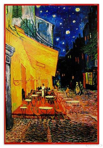 Close Up Terrasse de Cafe la nuit Poster Vincent Van Gogh (94x63,5 cm) gerahmt in: Rahmen rot