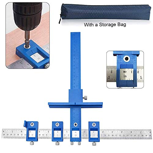 Deceny CB Cabinet Hardware Jig Adjustable Punch Locator Tool Drill Guide Template Wood Drilling Doweling for Installation of Handles, Knobs on Doors and Drawer Pull with Storage Bag