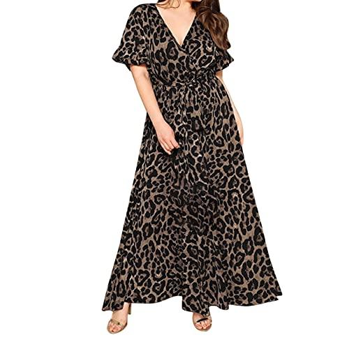 Lampart Drukuj Summer Sukienka Plus Size Damska Sukienka Bandaża z krótkim rękawem Letnie ubrania na co dzień (Color : BLACK, Size : X-Large)