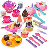 COMPREHENSIVE SET. Realistic Play Food Dessert Picnic Toys include over 44 pieces of teapot set, ice cream scoop, different ice cream types that can be assembled, sprinkles canes, ice cream cakes, toppings, spoons and forks, and cute plates. REAL FUN...