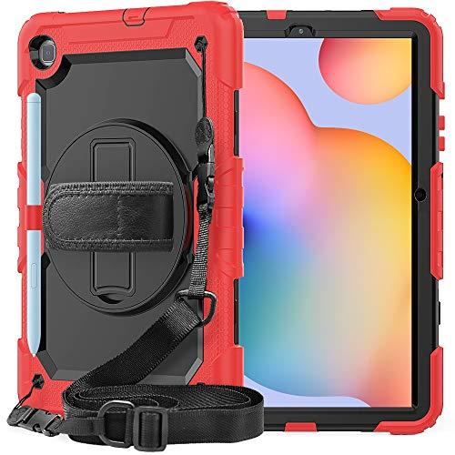 Tablet PC Tasche Schutzhülle für Samsung Galaxy Tab S6 Lite 10.4inch / P610 Dreischichtige Stoßdämpfer, 360 Grad Schwenkständer & Handstrap & Schultergurt PC + Silikon Schutzhülle ( Color : Red )