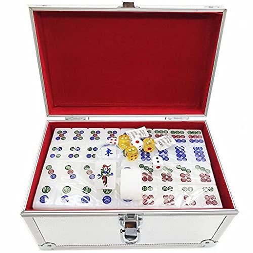 AILI Juego de fichas de Mahjong Chino Mahjong Chino, numerados Grandes Azulejos Blancos de acrílico Blanco MAH-Jong Tabla de Mesa Juego de ajedrez Juego de Aluminio Juego de Regalo fácil de Leer