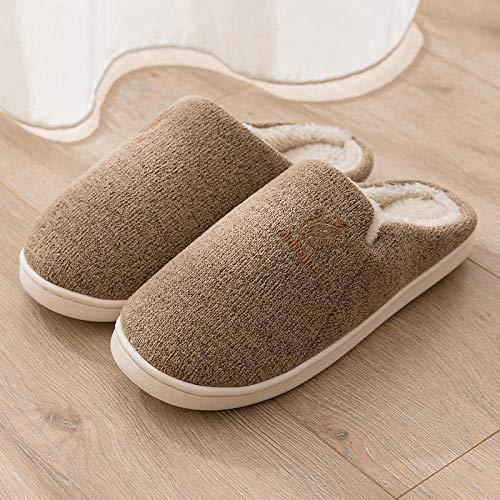 Zapatillas Casa Hombre Mujer Zapatillas De Algodón para Mujer Y Hombre, Zapatillas De Felpa Cálidas para El Hogar Antideslizantes De Otoño E Invierno para Mujer, Zapatillas De Tela para Hombre-Co