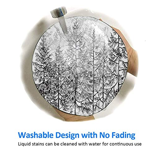 7.9x7.9 inch Round Gaming Mouse Pad,Cold Pine Tree Landscape Under Puffy Snow Pile Outlined Pointy Xmas Tree Leaves,with Non-Slip Rubber Base