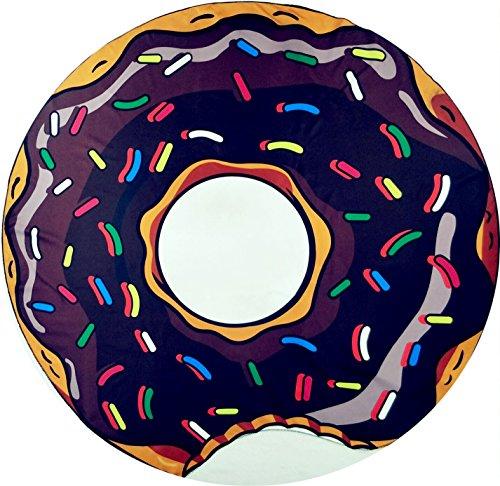 D'été ronde chocolat en forme de donut Beach Châle pique-nique Tapis Jeté de lit Tapisserie Dacron en soie pour le yoga de bain de soleil