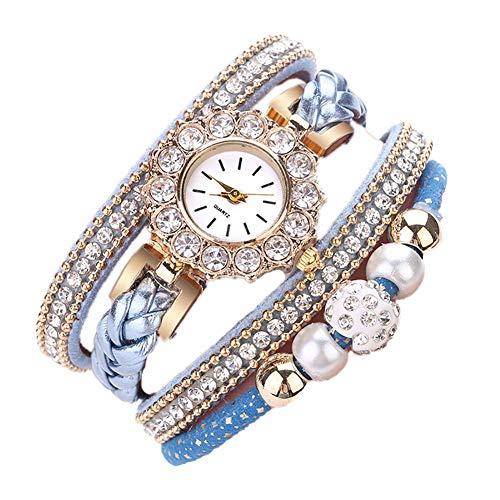 MSYOU - Reloj de pulsera para mujer, diseño de perla, círculo de perforación, esfera redonda, multicolor, azul