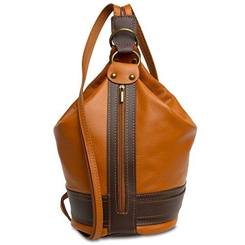 Caspar TL721 2 in 1 Leder Rucksack Handtasche, Farbe:cognac, Größe:One Size