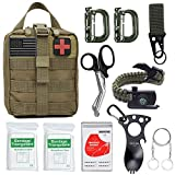 Survival Gear Kit 11 in 1 Molle Pouch EDC Survival Bag, Tactical Compact Water-Resistant EDC Pouch 1000D Nylon with Wire Saw, Emergency Blanket, Shear, Key Rings, Ergonomic Spoon,Paracord Bracelet ect