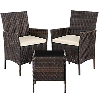 SONGMICS Set of 3 Polyrattan Garden Furniture, Patio Furniture Set with 2 Chairs, 1 Side Table with Tempered Glass Top, 2 Removable Cushions, Brown and Beige UGGF001BR1