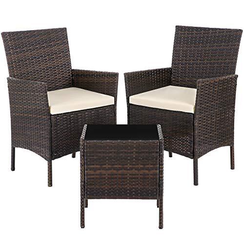 SONGMICS Gartenmöbel aus Polyrattan, 3er Set, Gartentisch mit 2 Stühlen, Beistelltisch mit Hartglasplatte, Gartensessel, 2 abnehmbare Kissen, für Terrasse, Garten, Balkon, braun-beige GGF001BR1