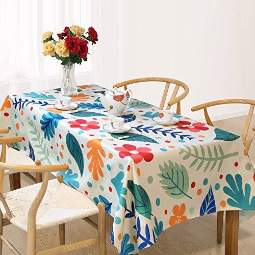 Tischdecke Tischtuch Wasserabweisend Leinendecke Lotuseffekt Tischdecke Leinen Tischdecken Garten abwaschbar Tisch Decke, 140*240cm