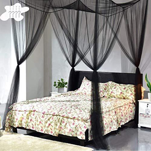 Digead Moskitonetz Bett, Viertüriges Moskitonetz - Betthimmel, Hängendes Bett Moskitonetz, Universelles Quadratisches Moskitonetz für alle Bettgrößen-Schwarz