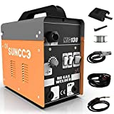SUNCOO 130 MIG Welder Flux Core Wire Automatic Feed Gasless Little Welder Portable Welding Machine 110 Volt,Orange