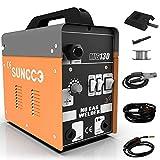 SUNCOO 130 MIG Welder Flux Core Wire Automatic Feed Gasless Little Welder Portable Welding Machine 110 Volt,Orange