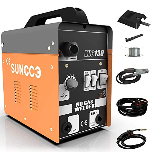 New SUNCOO 130 MIG Welder Flux Core Wire Automatic Feed Gasless Little Welder Portable Welding Machine 110 Volt,Orange.