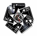 Gift.Time.UK2000 Poker vinyl wall clock - handmade Poker game cards ornament decoration and gift idea for any occasion