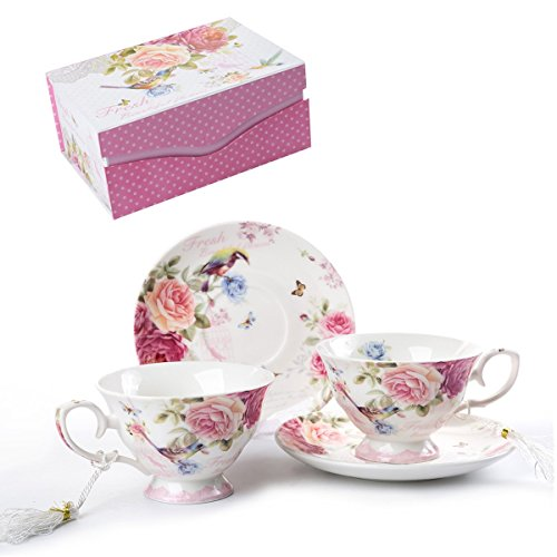 Coffee Tea Cup and Saucer Set 2 Shabby Chic Vintage Flora Porcelain Set Gift Box (Pink Bird Rose) (Kitchen & Home)