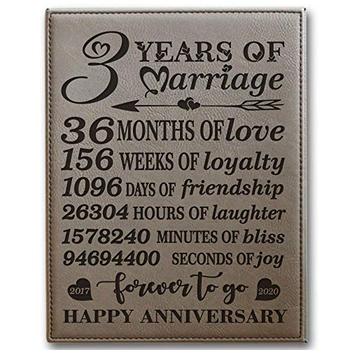 BELLA BUSTA- 3 Years of Marriage -2017-2020-Months,Weeks, Days, Hours, Minutes, Seconds-3rd Our 3rd Wedding Anniversary-Engraved Leather Plaque (Light Brown) (Last Minute Wedding Anniversary Gifts For Her)