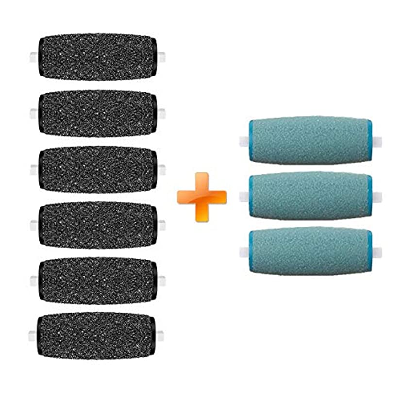 6Extra Coarse & 3Regular Coarse Replacement Roller Refill Heads Compatible with PediPefect Electronic Foot File