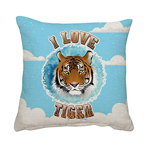Wevow I love Tiger Animal Lover Mothers Day Fathers Day Birthday Christmas Stocking filler Funny gift present idea Throw Pillow Cushion Cover With Insert. (Linen Insert)