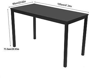 EBTOOLS Computertisch, Schwarz Schreibtisch PC Tisch Bürotisch Arbeitstisch Esstisch Home Office Möbel mit Metallrahmen, zum Studieren, Essen, Arbeiten und so weiter, 120 * 60 * 75 cm