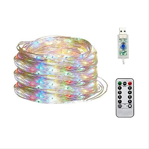 PXNH Luces de cadena de alambre de cobre Led Luces de hadas enchufables USB con control remoto 8 modos de luces Control remoto impermeable 20M 200LED Colorido
