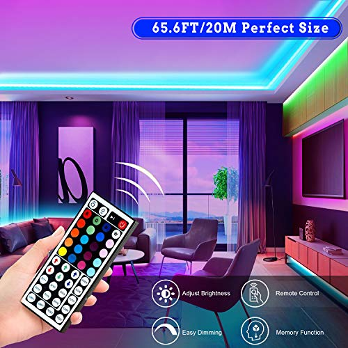 Tenmiro 65.6ft Led Strip Lights, Ultra Long RGB 5050 Color Changing LED Light Strips Kit with 44 Keys Ir Remote Led Lights for Bedroom, Kitchen, Home Decoration 5