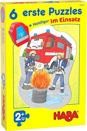 HABA 305236 - 6 erste Puzzles – Im Einsatz, Puzzles aus je vier Teilen mit Straßen-Motiven, Auto-Holzfigur zum freien Spielen, Spiel ab 2 Jahren