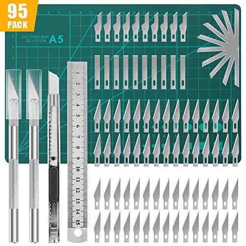 Lhedon 95 PCS Precision Carving Craft Hobby Messer Kit Enthält 82 PCS Ersatzklingen mit 2 Griffen,11 PCS Art Ersatzklingen mit 1 Griffen,1 A5 Schneidebrett,1 Stahllineal für DIY Art Work Cutting