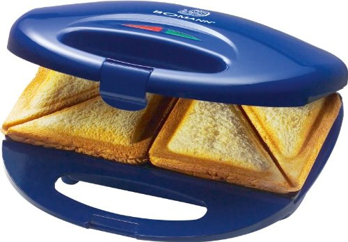Sandwich-Toaster 750 Watt 2-Scheiben-Sandwichmaker Antihaft-Beschichtung (Überhitzungsschutz, Backampel, Kontrollleuchte, Blau)