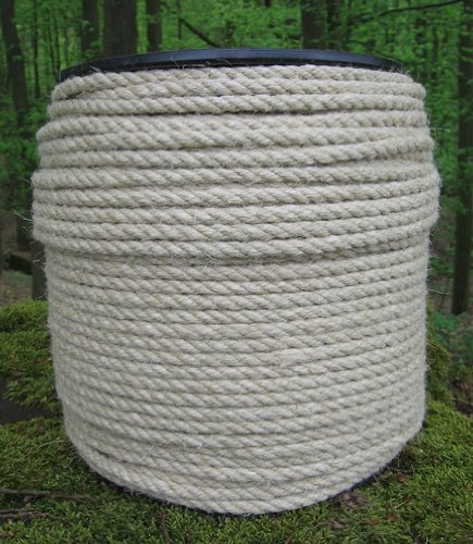 Corde de chanvre de 6 mm de diamètre - 200 m - Corde à 3 brins