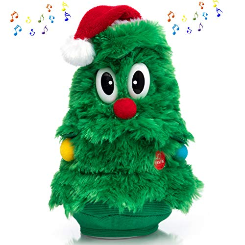 HollyHOME Animated Plush Toys Singing and Dancing Christmas Tree Figure Christmas Decoration Gifts for Kids 11 Inch