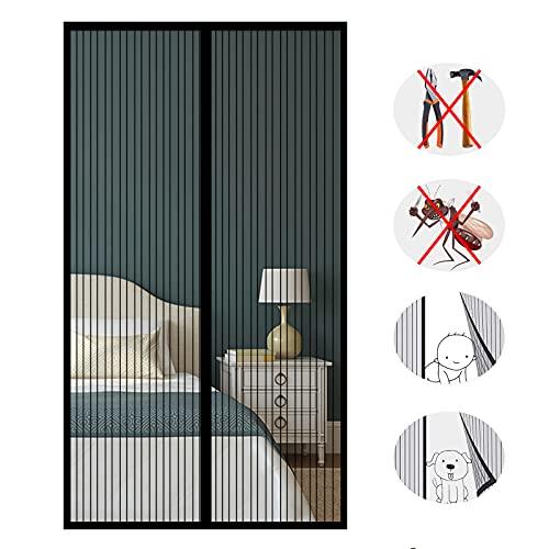 Magnet Fliegengitter Tür, Insektenschutz Balkontür, Kinderleichte Klebemontage ohne Bohren, für Terrassentür Wohnzimmer -Black-B|| 220x220cm(86x86inch)