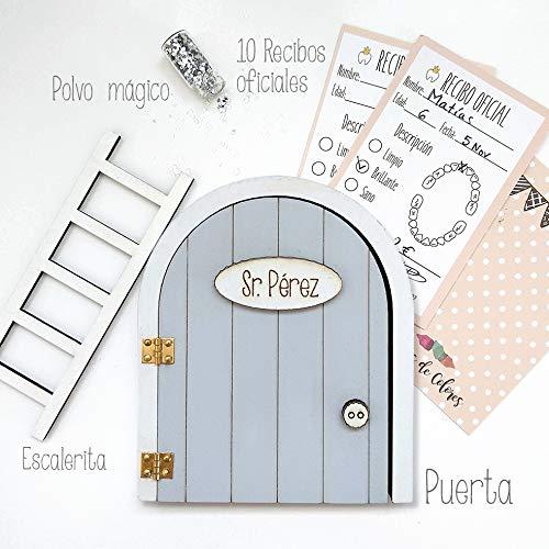 Puerta Ratoncito Pérez Gris QUE SE ABRE con escalerita, recibos oficiales y polvo mágico