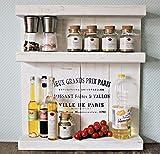 Especiero de madera - de pared o de pie - blanco vintage - 3 estantes - 57 x 50...