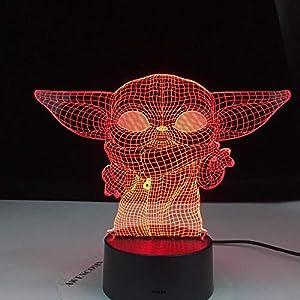 3D Night Light lamp LED Gift for Kid,Baby Yoda Meme Figure Child Bedroom Decor Table Baby Mini Yoda,7 Color