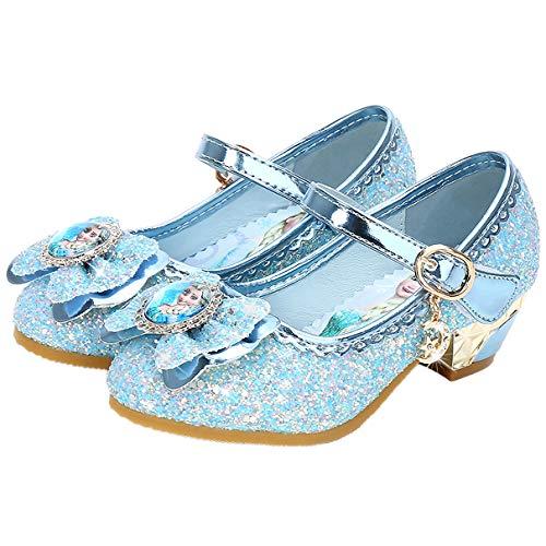 Eleasica Fille Talons Hauts Chaussures de Princesse Reine des Neiges Elsa Anna Paillettes Déguisement Doux Halloween Noël Anniversaire Carnaval Cosplay,Bleu,27 EU
