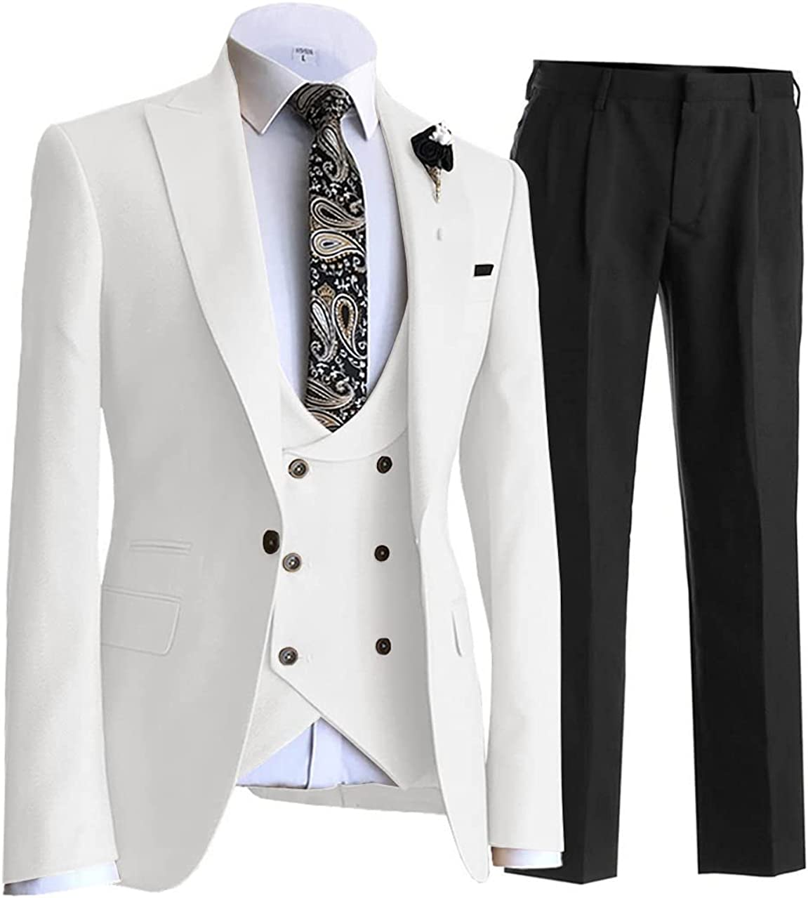 Aesido Men's Suits Regular Fit 3 Pieces Double Breasted Prom Tuxedos Wedding Grooms Jacket Blazer+Vest+Pants