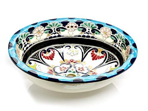 La Reina - Ovales mexikanisches Waschbecken - Cerames | Einbauwaschbecken 44,5 x 36 x 13 cm | Mexiko Waschbecken für Bdezimmer, Toiletten, Gäste WC