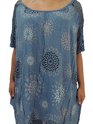 10 Farben zur Auswahl Blusen Shirts mit tollem Muster Größe 46, 48, 50, 52, 54 (Blauton)