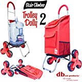dbest products Stair Climber Trolley Dolly 2, Red Shopping Grocery Foldable Cart Condo...