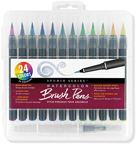Studio Series Watercolor Brush Marker Pens (Set of 24 pens, plus bonus water brush), Great for Hand Lettering, Calligraphy, Manga, Comics, Adult Coloring Books, Journals, and all DIY Drawing Art