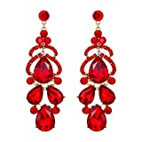 EVER FAITH Women's Wedding Bride Bridesmaid Jewelry Crystal Teardrop Pierced Dangle Earrings Red Gold-Tone