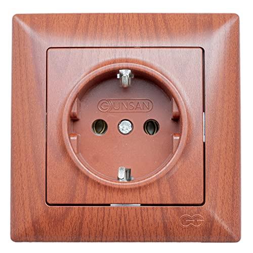 Gunsan Visage - Enchufe con protección de contacto empotrado, imitación de madera de cerezo