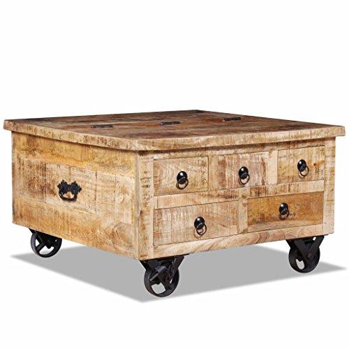 binzhoueushopping Table Basse en Bois de manguier Brut Table Basse Solide Table d'appoint Dimensions 70 x 70 x 40 cm (L x l x H) Table Basse Design
