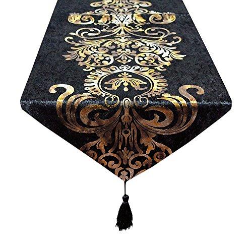 europeo barocco stile retrò nappe runner da tavola per festa di nozze decorazione, Tessuto, Nero , 32x180cm