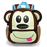 BTSKY Cartera Escolar Infantil con Asa Doble Mochila Graciosa con Diseño de Animales como Mono Tigre Jirafa Ligero Tamaño Perfecto para Niños de 1-5 Años (Mono)