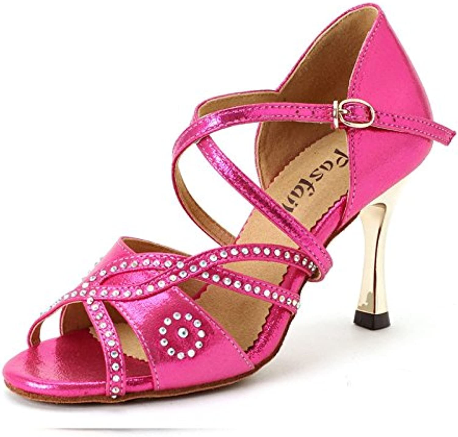 Ruanyi Professional Latin Dancing shoes, bluee and Pink Latin Dance shoes 8.5cm Heel Salsa Dancing shoes for Women